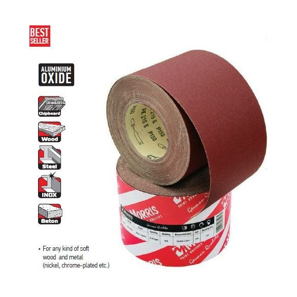 23547 -  csiszolópapír tekercs, piros,  115mm 120κ/ méter