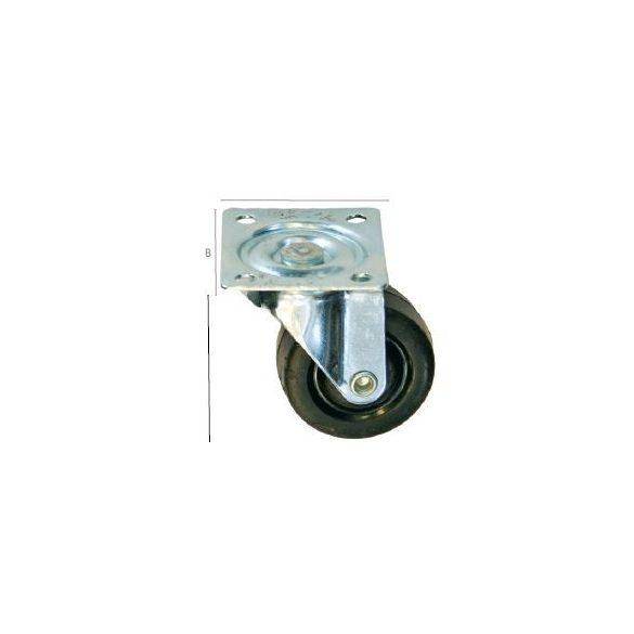 27544 -  fekete gumi görgő, forgó 50mm,