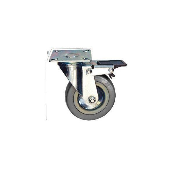 27555 -  szürke gumi görgő,forgó fékkel 125mm,