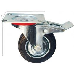 30831 -  ipari fekete görgő kerék, forgó fékkel 75mm,