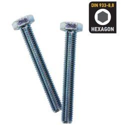 33143 -  M08X040 - hatlapfejű csavar, horganyzott CR 3+ DIN 933-8.8,  (180db)