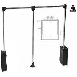 37093 -  gardrób ruhalift 12 kgr, fekete & króm acél, LENGTH 60-83 cm,