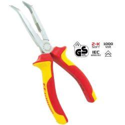 38198 -  hajlított csőrű fogó , VDE markolat, 200mm,