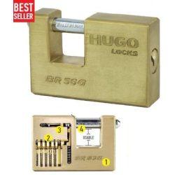 60141 -  lakat, négyszögletes,  sárgaréz, BR 56G , 3 kulcs
