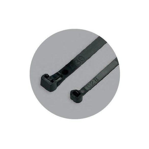 70890 - gyorskötöző, kiengedhető, olaj-,zsír-, sóálló, fekete, 200x7.6mm (100db)