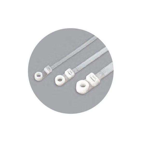 70903 - gyorskötöző, csavarozható vagy szögelhető, olaj-,zsír-, sóálló, fehér, 200x7.6mm (100db)