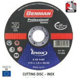 74264 - vágókorong, inox-hoz (rozsdamentes acél), professzionális , 115x1.0mm