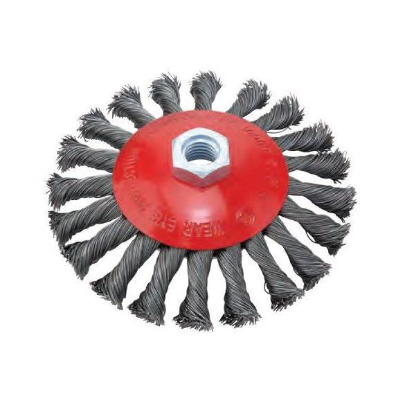 74316 - csavart drótos kónuszos drótkefe tárcsa, 05mm drót, menet M14*2.82, O 125