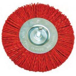 74323 -  nylon csiszoló kefekerék, piros, szárral,  Ø100mm