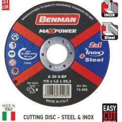 74498 -  vágókorong, acélhoz & inoxhoz (rozsdamentes acél), MAXPOWER , 115x1.2mm