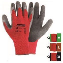 77298 -  9''/L - piros poliészter kesztyű kötött bélés, fekete latex tenyér,   9''/L