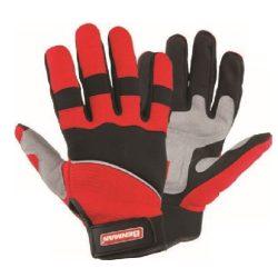 77361 -  10''/XL - kesztyű, fekete bőr, megerősített hüvelykujj és mutatóujj, dupla tenyér, tépőzáras ADJ,  10''/XL